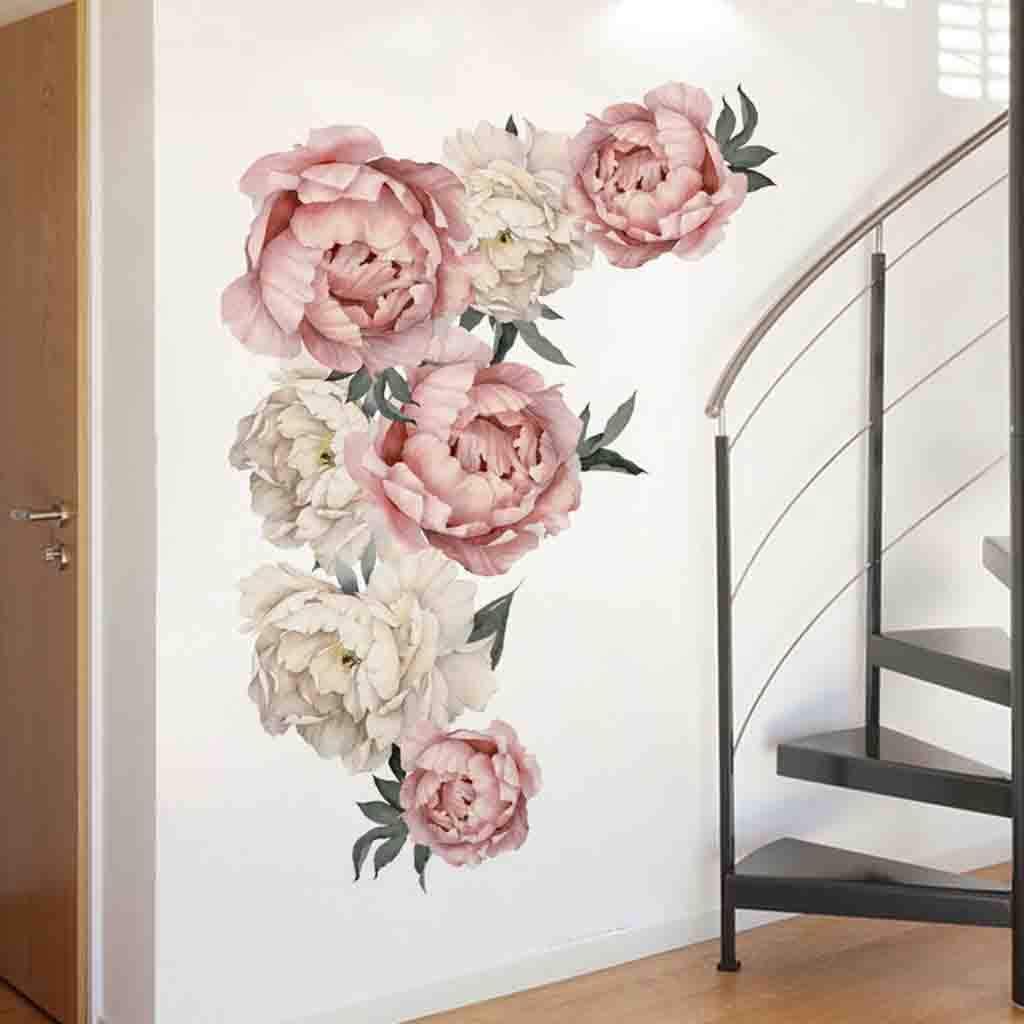 Vintage Pink , Wandaufkleber Pfingstrose Rose Blumen Wandaufkleber Kunst Kinderzimmer Aufkleber Kinderzimmer Home Decor Geschenk 40 x 60 cm Dkings Pfingstrose Blumen Wandaufkleber
