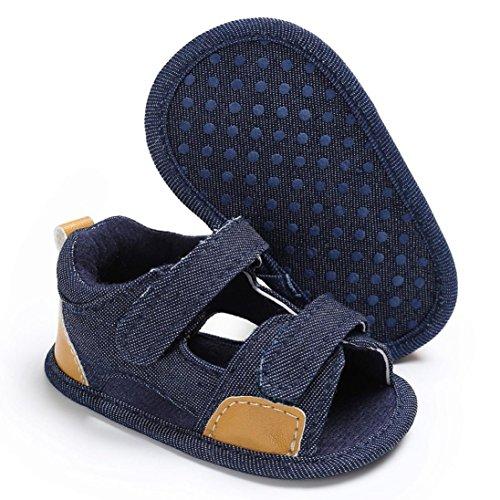 Sandalias para bebés, RETUROM Lona suave única cuna caminando sandalias para niños Azul