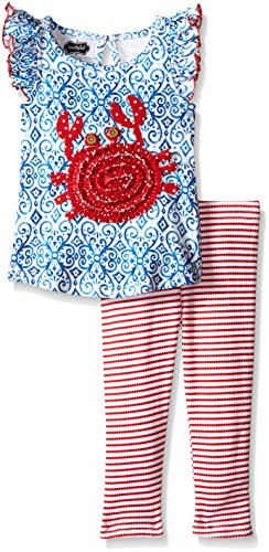 Mud Pie Little Girls' Toddler Two Piece Set Sleeveless, Red Crab, 3T