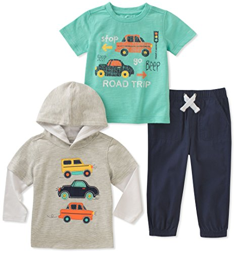 Kids Headquarters Baby Boys 3 Pieces Pants Set, Gray/Green, 24M