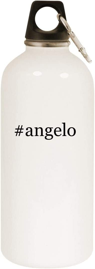 #angelo - 20oz Hashtag Stainless Steel White Water Bottle with Carabiner, White