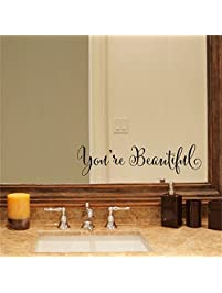 YINGKAI Youu0027re Beautiful Quote Mirror Decal Vinyl Decal Living Room Vinyl  Carving Wall Decal