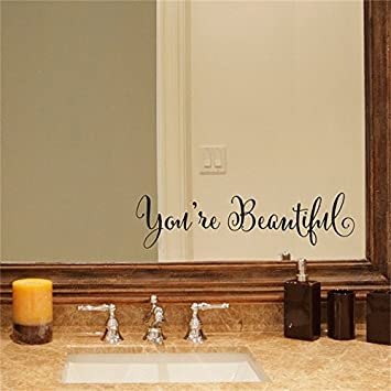 YINGKAI Youre Beautiful Quote Mirror Decal Vinyl Living Room Carving Wall