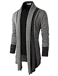 H2H Mens Casual Slim Fit Knit Cardigan with Double Shawl Collar GRAY US 2XL/Asia 3XL (KMOCAL011_KMOCAL012)