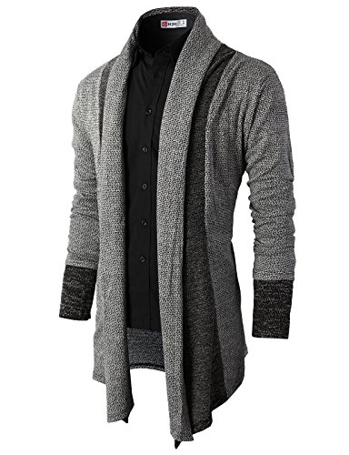 H2h Mens Clergy Cardigan Sweater Gray Us S Asia M  Kmocal012