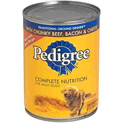 Pedigree Meaty Ground Dinner with Chunky Beef, Bacon & Cheese Dog Food 13.2 oz (Pack of 24)