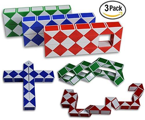 Magic Snake Cube Twist Puzzle Bundle of 3! 36 Wedges! 3 Large Cubes (Large 3 (Magic Snake)