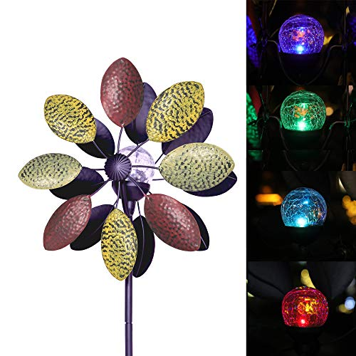 SteadyDoggie Solar Wind Spinner Tricolor 75 inches Multi-Color Seasonal LED Lighting Solar Powered Glass Ball with Kinetic Wind Spinner Dual Direction for Patio Lawn & Garden