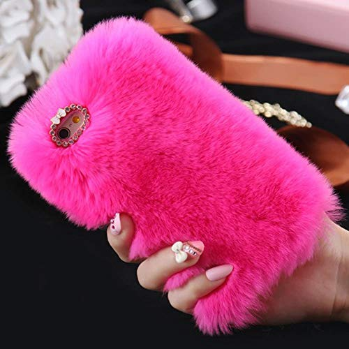 Cfrau Furry Case with Black Stylus for Samsung Galaxy S10 5G,Winter Warmed Fashion Faux Rabbit Bunny Fur Fluffy Plush Soft Case with Cute 3D Crystal Bowknot,Hot Pink