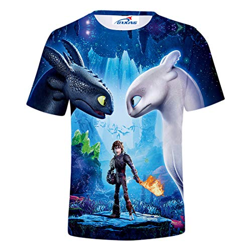 Oxking Kids Child Girls and Boys Unisex Family Comedy Movie Summer 3D Graphic Print T-Shirt How to Train Your Dragon 00379A Kid ()
