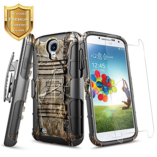 Galaxy S4 Case, NageBee Built-in Kickstand Full-Body Shockproof Armor Belt Clip Holster Heavy Duty Protective Rugged Durable Case w/[Tempered Glass Screen Protector] for Samsung Galaxy S4 I9500 -Camo