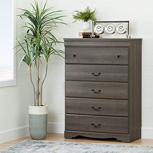 Gray Maple 5-Drawer Chest, Profiled Drawer Fronts, Metal Drawer Slides, Bedroom Furniture, Traditional Style, Wood Composite, Bundle with Our Expert Guide with Tips for Home Arrangement