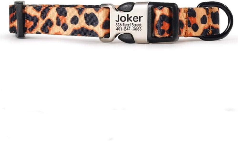 KIU Collar de Perro Personalizado Nylon Collar de Perro de Mascota Collar de Cachorro de Gato Personalizadopara Perros pequeños medianos Grandes Grabados, Leopardo, S
