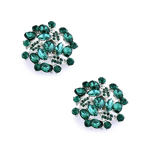 (ElegantPark AM Women Rhinestones Decoration Wedding Party Shoe Clips 2 Pcs Teal)