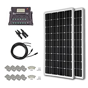 HQST 200 Watt 12 Volt Monorystalline Solar Panel Kit with 20A PWM LCD Display Charge Controller
