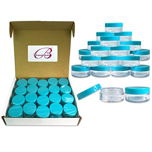 Blue 40 Pcs Clear Plastic Cosmetic Sample Empty Container Ja