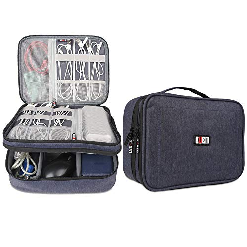 BUBM Electronic Organizer, Double Layer Travel Accessories Storage Bag for Cord, Adapter, Battery, Camera and More-a Sleeve Pouch for iPad or up to 9.7 Tablet(Large, Dark Blue)