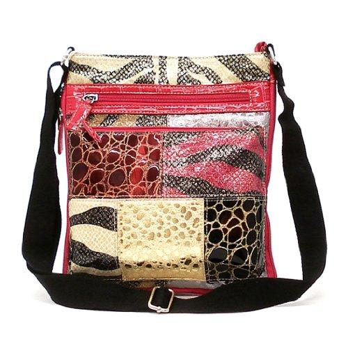 Designer Inspired Fuchsia Cross-Body Zibbra Pint Multi Colors Pink Messenger Bag