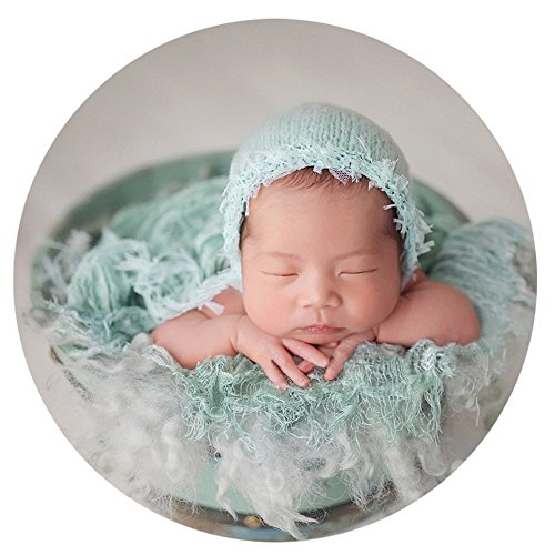 Zeroest Baby Photography Props Luxurious Hat Photo Shoot Outfits Newborn Girl Crochet Costume Infant Knitted Hats (Light Green)