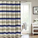 beige and blue shower curtain - Navy Blue Army Green Beige Canvas Fabric Shower Curtain: Striped Design, 70