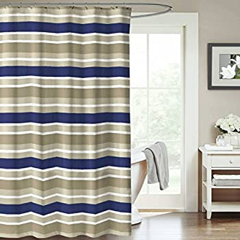 Navy Blue Army Green Beige Canvas Fabric Shower Curtain Striped Design 70 X 72 Inch