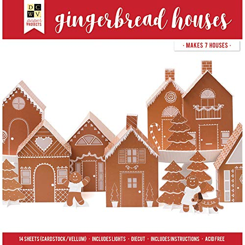 DCWVE DCWV Paper Project Christmas-12 x 12-Gingerbread 7 Houses-Light String 614732, Multi (Paper House Kit)