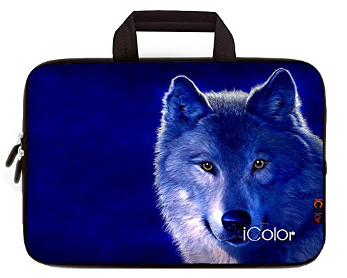 iColor Cool Wolf 10 10.2 Inch Laptop Carrying Bag Cover Neoprene Travel Briefcase Portable Chromebook Ultrabook Sleeve Case with Handle Fits 9.7 10.1 Dell Google Acer HP Lenovo Asus (IHB10-13)