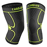CAMBIVO 2 Pack Knee Brace, Knee Compression Sleeve Support for Running, Arthritis, ACL, Meniscus Tear, Sports, Joint Pain Relief and Injury Recovery(FDA Approved) (X-Large (21'' - 23''), Black/Green)