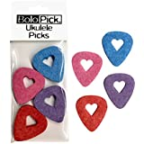 BoloPick Felt Ukulele Picks, with Easy to Hold Heart Shape Cutout, 8 Pack, Multi