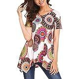 Dressffe Women Blouse Short Sleeve Floral Print Loose...