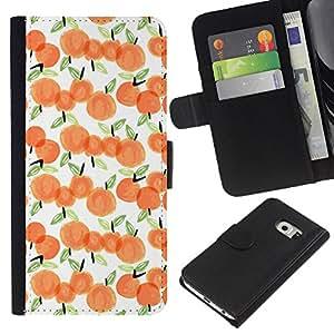 All Phone Most Case / Oferta Especial Cáscara Funda de cuero Monedero Cubierta de proteccion Caso / Wallet Case for Samsung Galaxy S6 EDGE // Apple Watercolor White Peach Orange