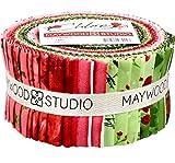 Chloe Geraniums 40 2.5-inch Strips Jelly Roll Maywood Studio