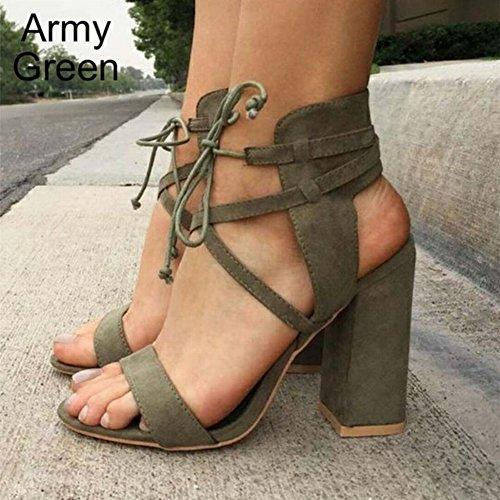con con Alla Dimensioni Tacco Spesso Caviglia Alto Sandali Scarpe Blu Fibbia Di YTTY con Grandi Tacco OqzSUBBn