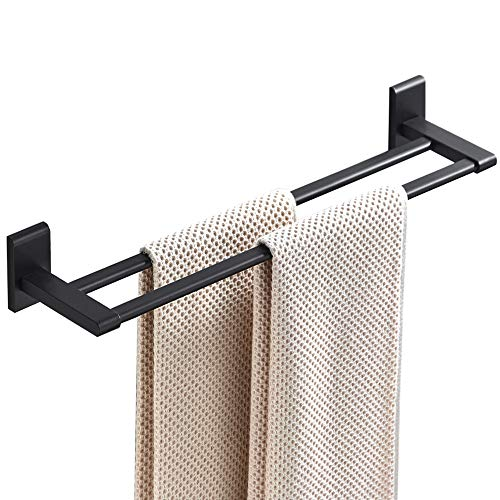 Barle Towel Bar Wall Mount Black Finish Aluminum Space, Single or Double Bar (Black Double Bar 16Inch)