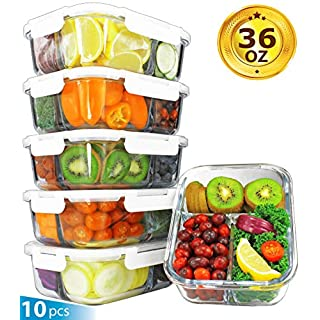 [36oz, 5-Pack Premium] Glass Meal Prep Containers 3 Compartment Set- Food Lunch Storage- Airtight Locking Lids - Portion Control -Microwave, Freezer, Oven & Dishwasher Safe (4.5 Cups)