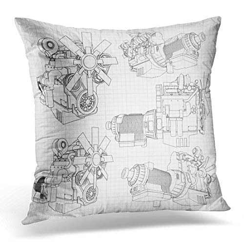 Emvency Throw Pillow Covers Case White Car Big Diesel Engine with The Truck Depicted in Contour Lines on Graph of Black Grey Gearbox Decorative Pillowcase Cushion Cover 18 x 18 Inches