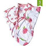 Baby Swaddle Blanket Wrap Set (3 Pack) Pink Peony, Pink Heart, Pink Buffalo Plaid