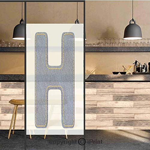 - 3D Decorative Privacy Window Films,Denim Letter Design Uppercase H Fabric Pattern Jeans Texture Retro Typography,No-Glue Self Static Cling Glass film for Home Bedroom Bathroom Kitchen Office 24x36 Inc