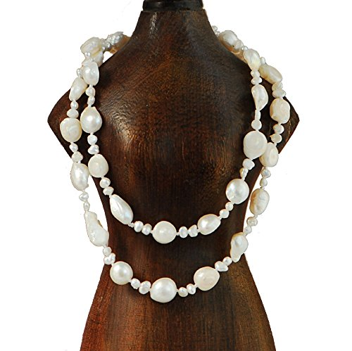 9-10mm Baroque & 4-5mm Nugget Cultured Freshwater Pearl Necklace 25