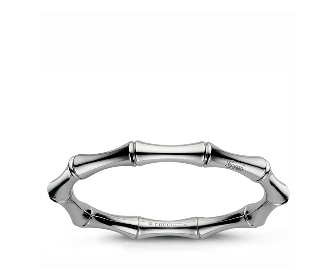 04299e619 Amazon.com: Gucci 18k White Gold bangle Bamboo collection. Size is 17mm. -  YBA246463001: Jewelry