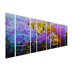 Pure Art Colorful Tropical School of Fish Metal Wall Art, Purple Oversize Metal Wall Decor in Tropical Ocean Design, 9-Panels 86x 32, 3D Wall Art for Modern and Contemporary Decor