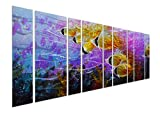 Pure Art Colorful Tropical School of Fish Metal Wall Art, Purple Oversize Metal Wall Decor in Tropical Ocean Design, 9-Panels 86''x 32'', 3D Wall Art for Modern and Contemporary Decor