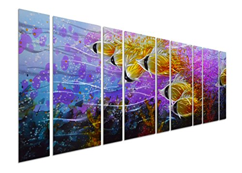 Pure Art Colorful Tropical School of Fish Metal Wall Art, Purple Oversize Metal Wall Decor in Tropical Ocean Design, 9-Panels 86''x 32'', 3D Wall Art for Modern and Contemporary Decor by Pure Art