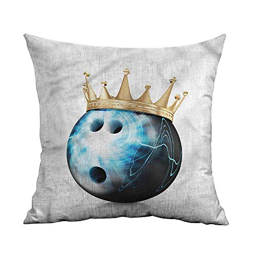 - ArrDecor Cushion Cover Square Home Life,Bowling Party,Ball with Crown,Throw Pillows for Bedroom,W 18