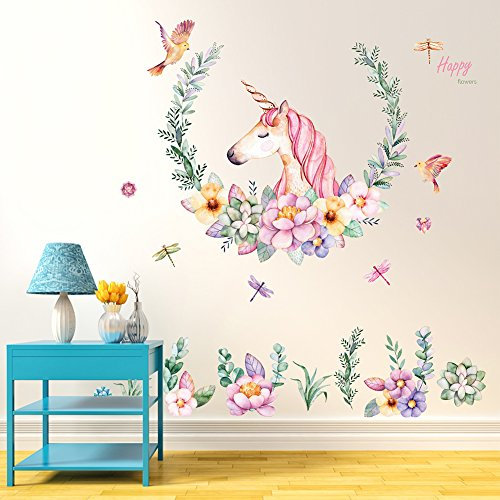Unicorn Mural - Bluelans Kids Unicorn Theme Peel and Stick Wall Decal, Colorful Unicorn Flower Decorative Unisex Sticker for Children Bedroom, Nursery, Playroom Mural (Unicorn&Flower)