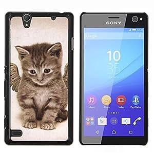 EJOOY---Cubierta de la caja de protección para la piel dura ** Sony Xperia C4 ** --Ángel lindo gatito Alas Casa Gato Mascota