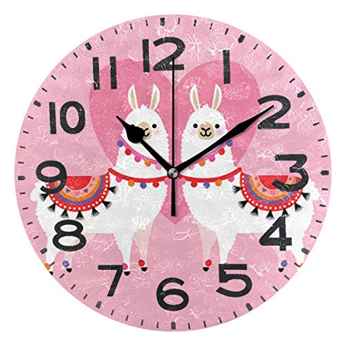 Naanle Cute Llama Couple Love Valentine Style Round Wall Clock Decorative, 9.5 Inch Battery Operated Quartz Analog Quiet Desk Clock for Home,Office,School(Pink)