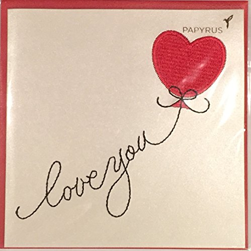 Papyrus Valentine's Day Love You Card Feat. Threaded Red Heart Balloon -5 X 5 Inches - Red Envelope - (1) (Feat Card)