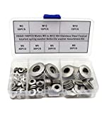 HVAZI 190PCS Metric M3 to M12 304 Stainless Steel Conical knurled spring washer Belleville washer Assortment Kit