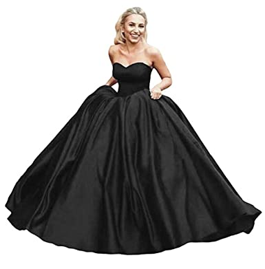 9c15083b2cc4 Lnxianee Women's Sweetheart Puffy Prom Dresses Long Satin Party Evening  Gowns Black